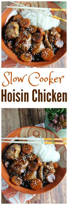 Slow Cooker Chicken with Hoisin Sauce - this easy and flavourful recipe  is better than take out and healthier too! Made with chicken thighs and a few simple ingredients perfect for weeknights. This is the ideal Chicken Dinner recipe that the whole family will love!