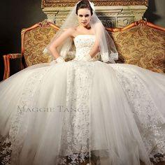 Maggie Tang Strapless Ball Gown Duchess Bride Wedding Dress Custom Made SZ34-42