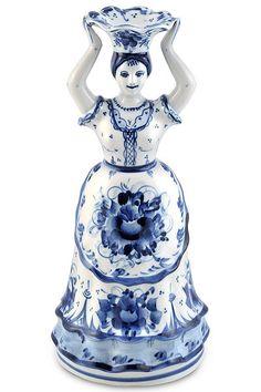 "Gzhel Porcelain ""Nastenka"" Candle Holder | eBay"