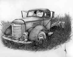 Old truck in a field. Graphite Pencil, Charcoal on Bristol.