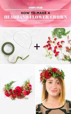 Flower Crown Tutorial, Diy Flower Crown, Diy Crown, Floral Crown, Diy Flowers, Flower Crowns, Flower Crown Headband, Bow Tutorial, Fabric Flowers