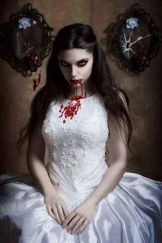 Female Vampire, perhaps a vampire bride who sampled her new husband, or she could just be pretty dressed Art Vampire, Vampire Bride, Vampire Love, Vampire Girls, Vampire Photo, Dark Beauty, Gothic Beauty, Gothic Makeup, Vampires And Werewolves