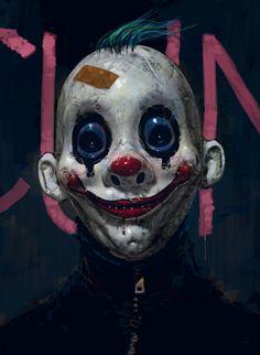 Art of a clown from The Dark Knight