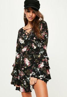 Missguided - Black Floral Tie Ruffle Tea Dress