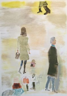 """UNTITLED (WOMAN WITH BROWN PURSE), Monotype, 41 1/2 x 29"""""""