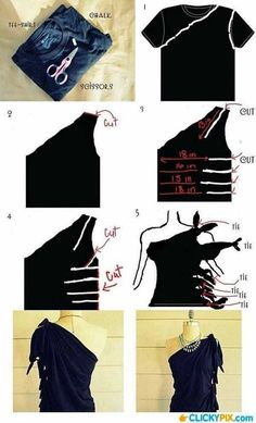 T-shirt cutting and knotting
