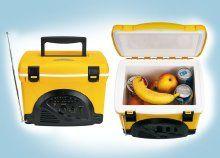 Hódolj a nyárnak! Strapabíró és cseppálló, hordozható hűtőtáska (4 liter) FM rádióval, fekete-sárga színben