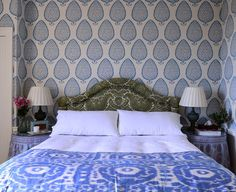 Blue and green bedroom interior design with patterbed upholstered headboard by Jessica Buckley Interiors Apartment Bedroom Decor, Home Bedroom, Room Decor Bedroom, Bedroom Ideas, Bedroom Signs, Bedroom Lighting, Bed Room, Pretty Bedroom, Bedroom Green