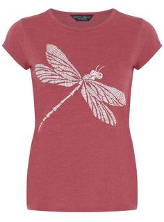 Rose tee with dragonfly