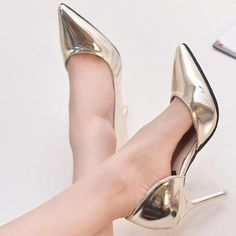 Spring Autumn Hot Women Pumps Sexy Gold Silver High Heels Shoes Fashion  Pointed Toe Wedding Shoes Party Women Shoes 873471246add