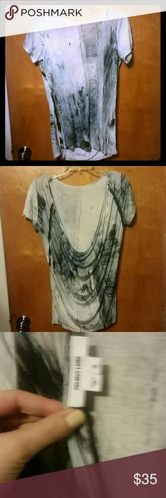 Helmut Lang Small Drapey Splatter Tee Worn once. Great condition. Helmut Lang Tops Tees - Short Sleeve