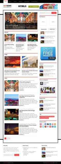 Hotnews, WordPress Premium Responsive Magazine Theme Ios Features, News Web Design, Cool Themes, Premium Wordpress Themes, Free Website, Web Design Inspiration, New Media, Magazine, Templates