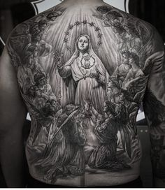 Full back tattoo Back Tattoos For Guys, Full Back Tattoos, Tattoo Expo, Tattoo Shows, Virgen Maria Tattoo, Jesus Tattoo Design, Herren Hand Tattoos, Backpiece Tattoo, Heaven Tattoos