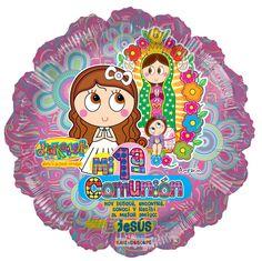 @Distroller Comunión Rosa 18. Primera comunión, niña, Globo metálico.