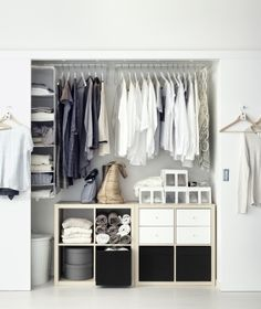 Simple and versatile, the KALLAX series of bookshelves from IKEA can help you organize and accessorize any closet space.