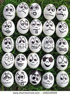 White Eggs And Many Funny Faces Stock Photo, Picture And Royalty Free Image. Image funny White eggs and many funny faces Rock Painting Patterns, Rock Painting Ideas Easy, Rock Painting Designs, Paint Designs, Egg Designs, Pebble Painting, Pebble Art, Stone Painting, Eye Painting