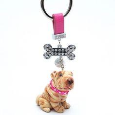 SHAR PEI KEYRING KEYCHAIN PINK FOB DOG LOVER GIFT CRAFT