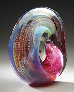 "Blown glass sculpture ""Standing Gold Ruby Sculpture""  Created by Robert Burch  Hand formed gold ruby sculptural paperweight with minute bubbles nestled on a layer of silver glass and cased in clear. Signed beneath. www.artfulhome.com"