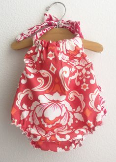 Red Paisley Baby Girl Romper by ALittleArrow on Etsy