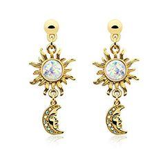 $15.99---Golden Celestial Sun Moon Dangle Ear Stud Earrings