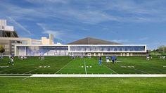 University of Kentucky Football Training Center - Calhoun Construction Services University Of Kentucky Football, Kentucky Sports Radio, Uk Football, High School Football, College Football, Construction Services, Training Center, The Expanse, Athlete