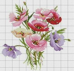 The Lilac Studio 57 Free Cross Stitch Charts, Easy Cross Stitch Patterns, Cross Stitch Cards, Simple Cross Stitch, Cross Stitch Rose, Cross Stitch Flowers, Cross Stitch Designs, Cross Stitching, Cross Stitch Embroidery