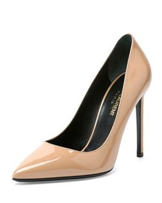"""Saint Laurent patent leather pump. 4.3"""" covered heel. Pointed toe. Topstitched collar. Leather lining and sole. Made in Italy."""