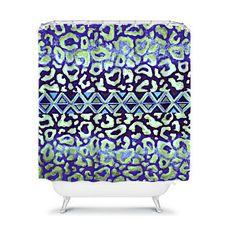 Tribal Leopard in Blue Fine Art Painting Shower Curtain