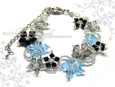 Swarovski Crystal Bracelet, Flora bracelet black and blue with silver clasp and adjustable chain by CandyBead