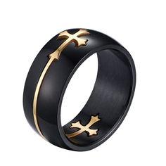 Кольцо унисекс, из титанистой стали, с изображением креста