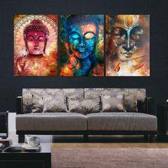 Panel Buddha Set 3 Home Art Gift Canvas HD Premium Print Poster Room Wall Decor Design Gifts No Frame Free Ship Worldwide 3 Piece Canvas Art, Diy Canvas, Wall Canvas, Buddha Canvas, Wall Art Prints, Canvas Prints, Wall Mural, Buddha Painting, Painting Canvas