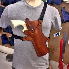 Light Brown Handmade Leather Chest Holster for Ruger Blackhawk