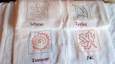 Modern Set of Four Seasons Hand Embroidered Flour Sack Towel. $36.00, via Etsy.