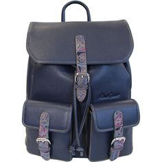 Robert Graham Paisley Leather Backpack ($131) ❤ liked on Polyvore featuring men's fashion, men's bags, men's backpacks, navy and mens leather backpack