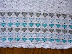 Handmade blue white heart crochet baby blanket afghan for sale. Crochet Heart Blanket, Chevron Blanket, Crochet Blanket Patterns, Crochet Squares, Cute Blankets, Baby Boy Blankets, Manta Crochet, Crochet Baby, Baby Afghans