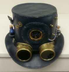 Steampunk Leather Top Hat with Working Skeleton Pocket Watch Pen Nibs Dip Pen and an Ink Vial.  Awesome!
