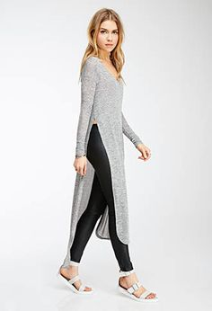Marled High-Slit Maxi Dress   FOREVER21