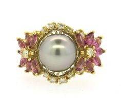 14K Gold Tahitian Pearl Diamond Pink Tourmaline Ring Featured in our upcoming auction on December 14, 2015 11:00AM EST!