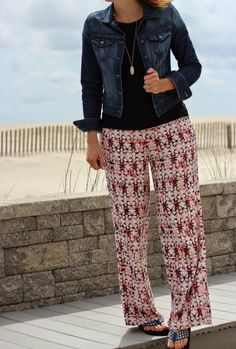 See What Katie Wears: Beach Day - jean jacket, J. Crew tee, Aeropostale Bethany Mota butterfly palazzo pants
