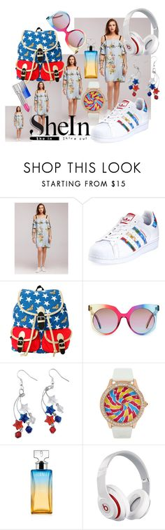 """Shein"" by emmmy88 ❤ liked on Polyvore featuring adidas, DC Comics, MCM, Betsey Johnson, Calvin Klein, Beats by Dr. Dre and Estée Lauder"