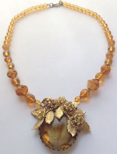 Винтаж Miriam Haskell подпись Топаз Вихрь стеклянная бусина кулон ожерелье