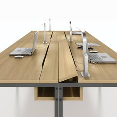 Office Interiors, Office Design: Fold up power strip on Office Table via Bureau Design, Office Interior Design, Office Interiors, Office Table Design, Office Furniture Design, Office Designs, Corporate Interiors, Design Table, Office Workspace