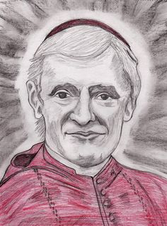 Blessed Cardinal John Henry Newman drawn by Kathy Ellinger, OFS