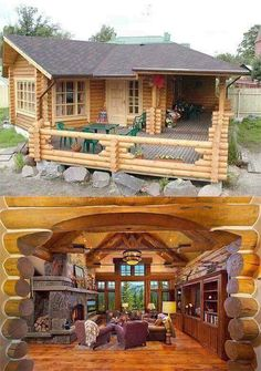 House with porch, tiny house cabin, log cabin homes, tiny house living, Shed To Tiny House, Small Tiny House, Tiny House Cabin, Log Cabin Homes, House With Porch, Cottage Homes, Cabin House Plans, Small House Plans, Casas Country