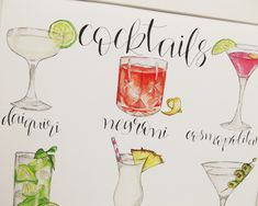 Cocktails Illustrated Giclée Print Wall Art - Prints and Posters Popular Cocktails, Classic Cocktails, Sangria, Watercolor Illustration, A4, Wall Art Prints, Giclee Print, Chin Chin, Daiquiri