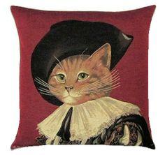 Cat D'Artagnan Belgian Tapestry Cushion
