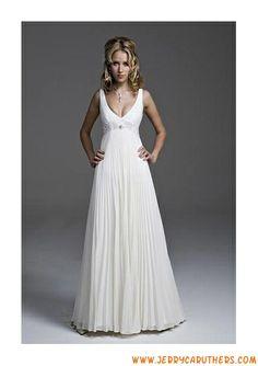 A-Line Princess V-neck Chapel Train Chiffon Wedding Dress With Lace Beading  Pleated 76ee85966f80