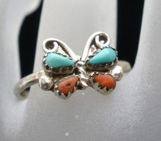 Sterling Silver Butterfly Natural Coral Turquoise Size 5 Estate Ring Vintage | eBay