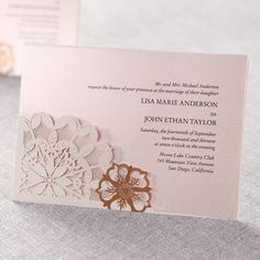 Laser Cut Floral Frame  - Wedding Invitations