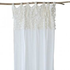 Tie Top Cotton Voile Ruffle Curtain Panel
